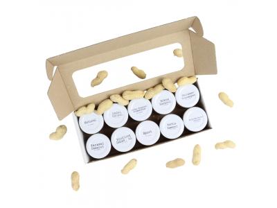 Pindakaas proefpakket met 10 smaken in mini potjes